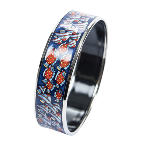 Enamel Bangle MM in Blue/Red Stainless Steel without Nickel