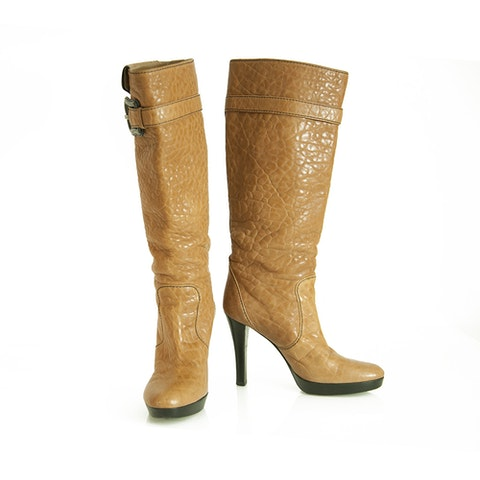 Caramel Brown Pebbled Leather B Buckle Pull On Boots Heels