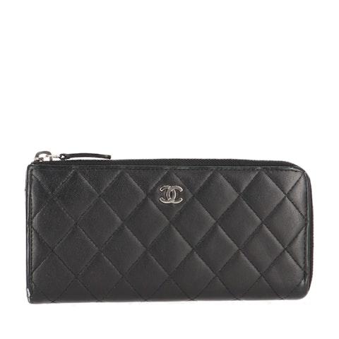 Black Lambskin Long Zipped Wallet