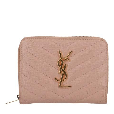 Pink Leather Monogram Compact Zip-Around Wallet