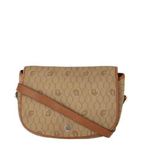 Beige Honeycomb Coated Canvas Crossbody