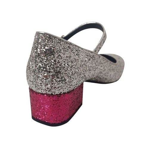 Glitter and leather Silver heel sandal