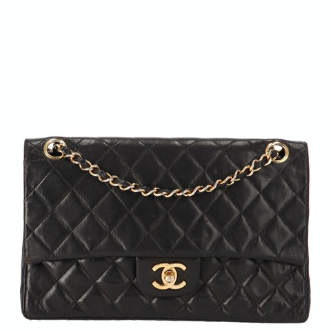 Black Medium Lambskin Classic Double Flap Bag