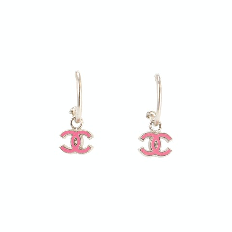 Silver Small 'CC' Logo Earrings