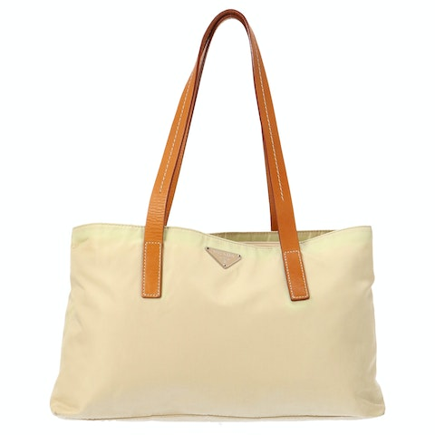 Beige Nylon Shoulder Bag