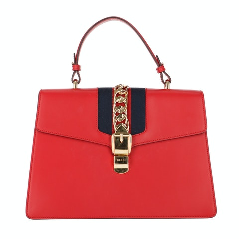 Red Leather Sylvie Large Bag