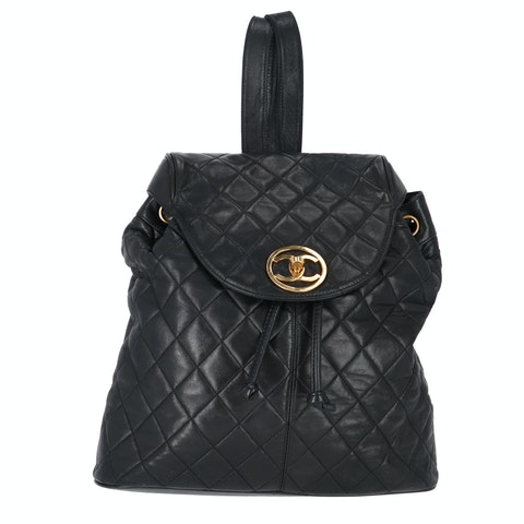 Black Quilted Calfskin Backpack