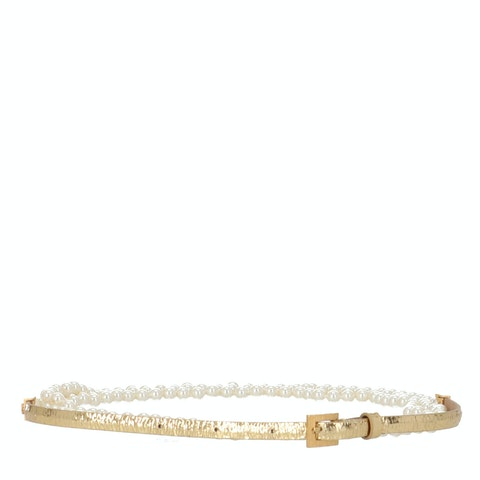 Chanel Gold Logo Pearl Belt