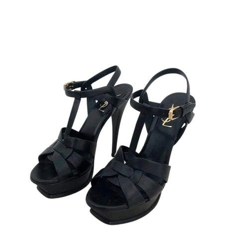 Black Leather Tribute Platform Sandals