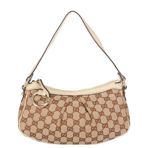 Brown Diamante Canvas Shoulder Bag