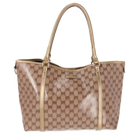 Brown Diamante Coated Canvas Shoulder Bag