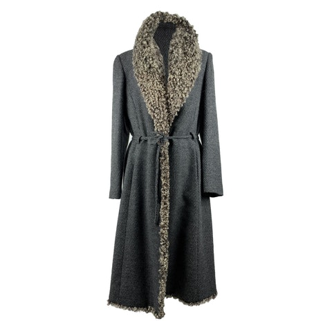Long coat with fur trim with belted waistline