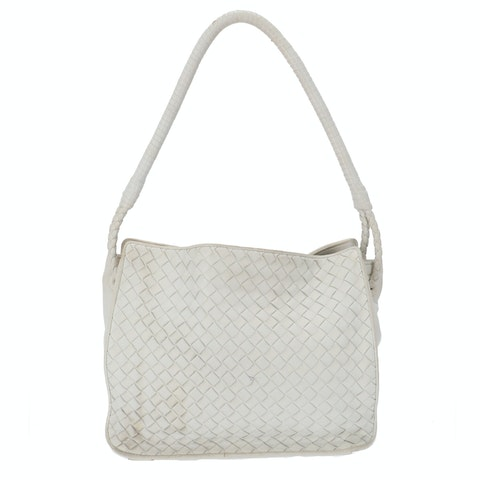 Bottega Veneta White Small Intrecciato Shoulder Bag
