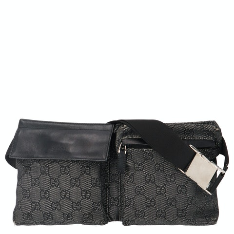 Gucci Grey Diamante Canvas Belt Bag