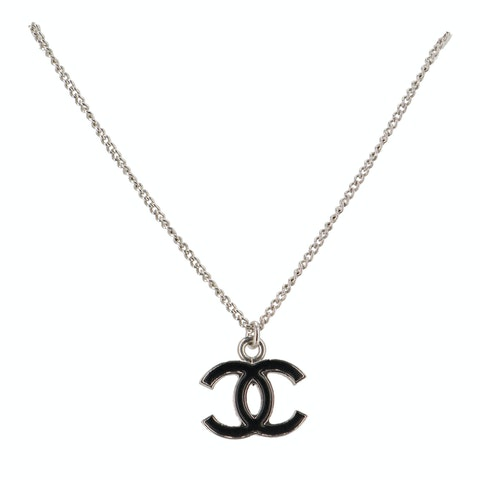 Silver-TONED 'CC' Pendant Necklace