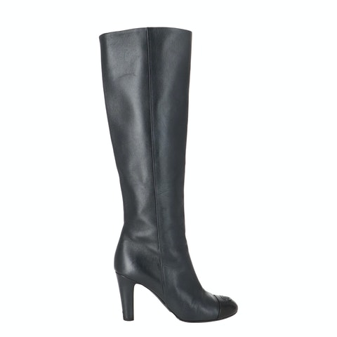 Blue Calfskin Cap Toe Knee-High Boots