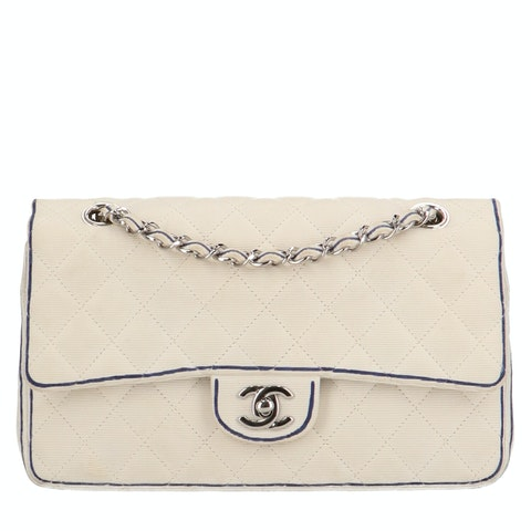 White Canvas Specialty Flap Bag