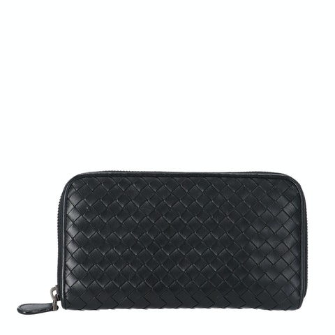 Bottega Veneta Black Zip-Around Wallet