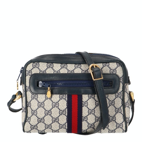 Navy Diamante Coated Canvas Ophidia Bag