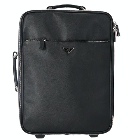 Black Saffiano Leather Trolley