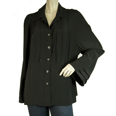 Black Silk Longsleeve Buttoned Pleated Blouse