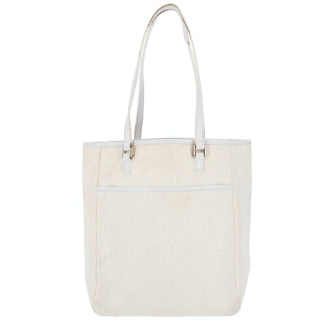 White Oblique Coated Canvas Tote