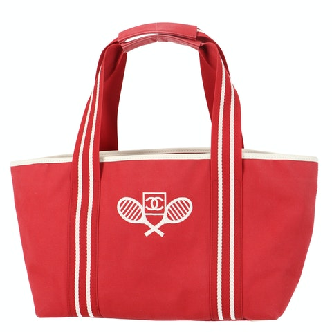 Red Canvas 'CC' Sport Shoulder Bag