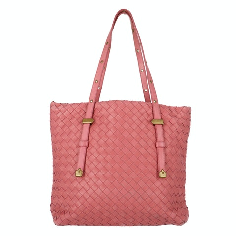 Bottega Veneta Pink Intrecciato Shoulder Bag