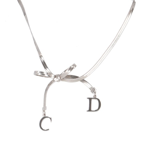 Silver-Toned 'CD' Logo Necklace