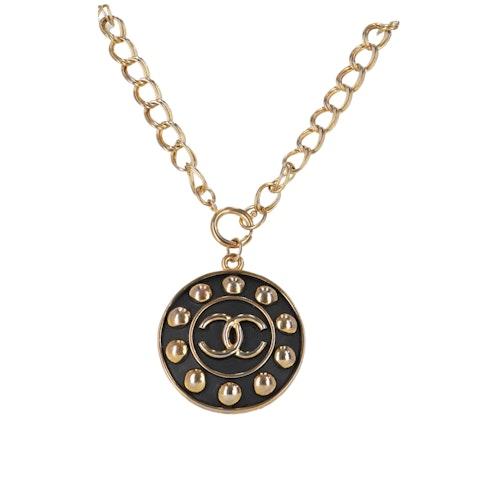 Gold-Toned 'CC' Pendant Necklace