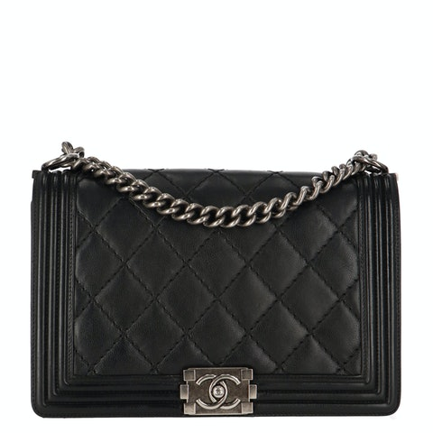 Black Large Calfskin Boy Bag