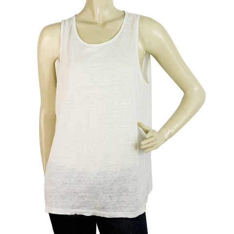 White Sleeveless Linen Silk Tank Top Basic Blouse