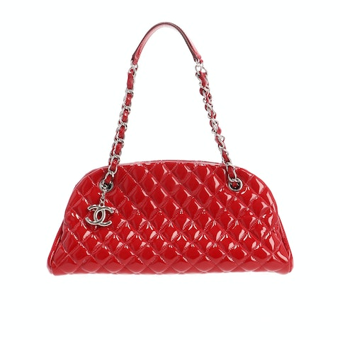 Red Patent Quilted Shoulder Bag