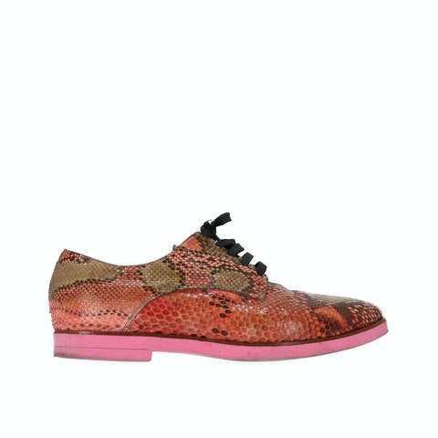 Multicolor Snake-Effect Lace-Up Shoes