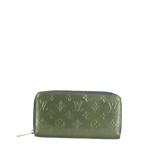 Green Monogram Vernis Zippy Wallet