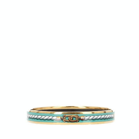 Multicolor Printed Enamel and Gold-Toned Bracelet