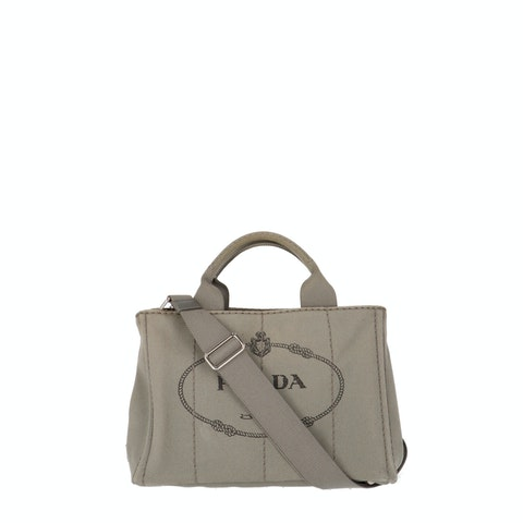 Grey Printed Canvas Tote