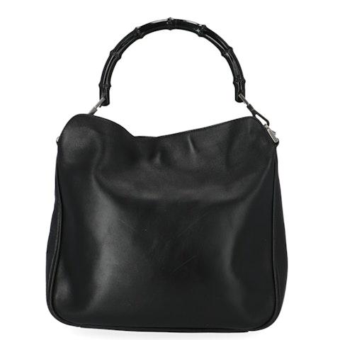 Gucci Black Bamboo Hobo Bag