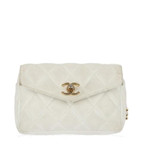 Chanel White Medium Lambskin Waist Bag