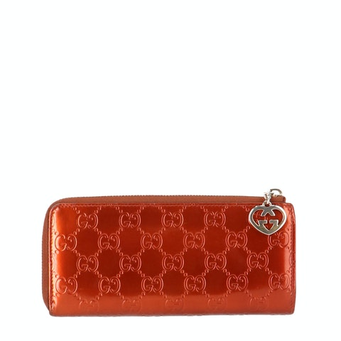 Red Guccissima Patent Leather Long Wallet