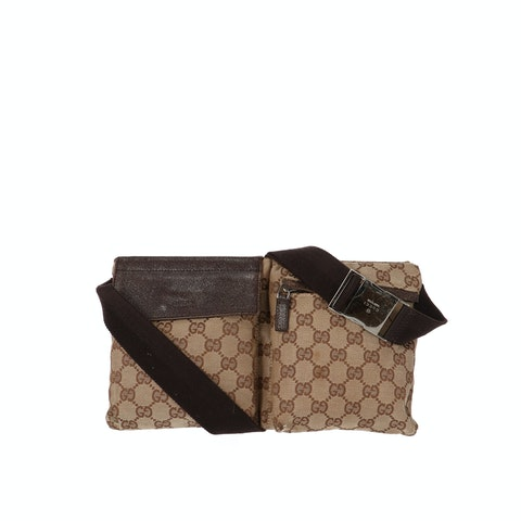 Gucci Brown Diamante Canvas Belt Bag