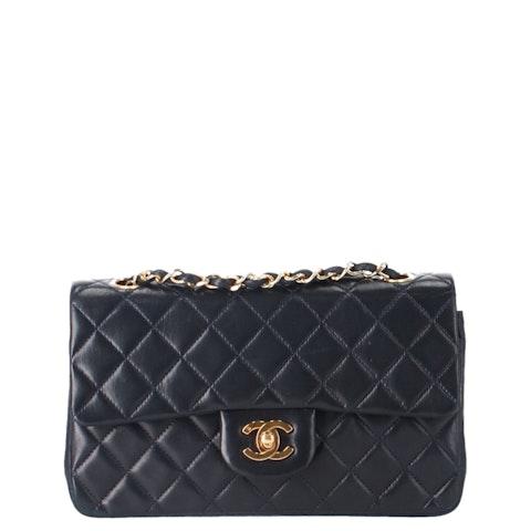 Blue Small Lambskin Classic Double Flap Bag