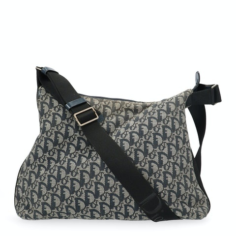 Dior Blue Jacquard Canvas Trotter Crossbody