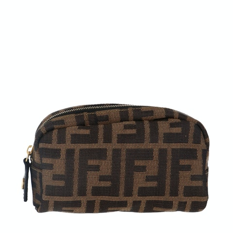 Brown Zucca Canvas Cosmetic Bag
