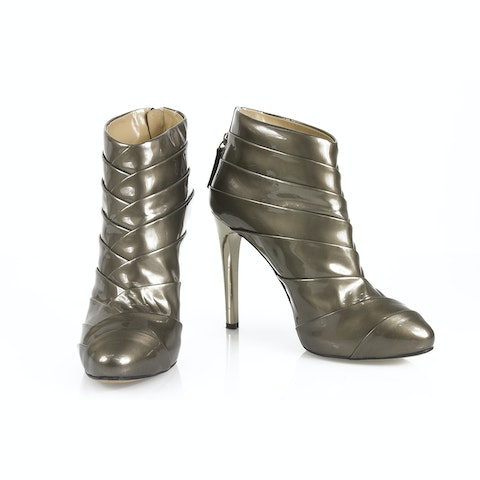 Metallic Gray Patent Leather Pleated Ankle Boots