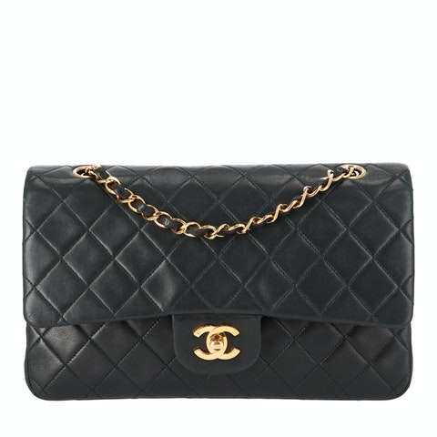 Black Lambskin Classic Double Flap Bag