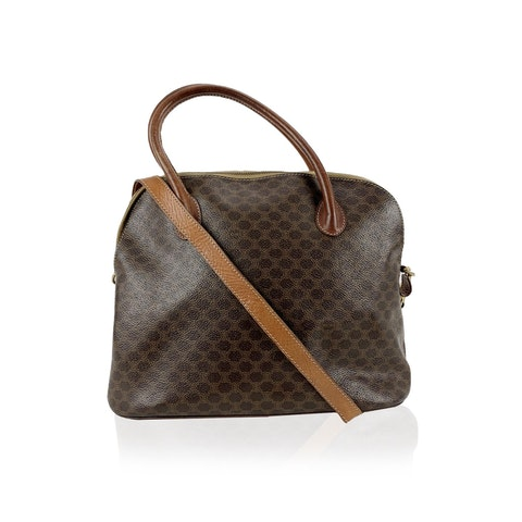 Celine Vintage Brown Macadam Canvas Bag with Shoulder Strap