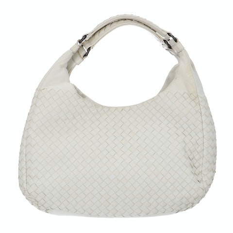 Bottega Veneta White Medium Intrecciato Shoulder Bag