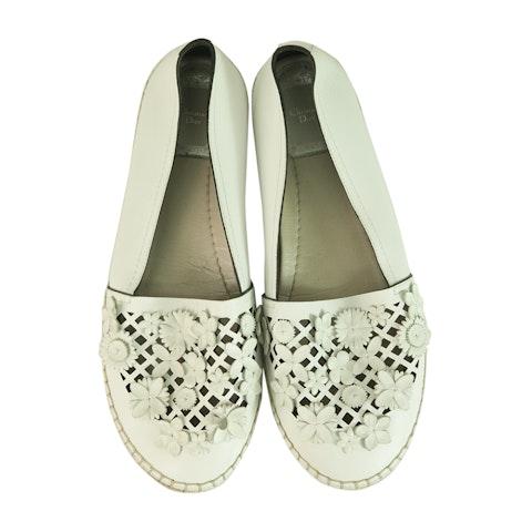 Christian Dior White Leather Laser Cut Floral Embellished Flore
