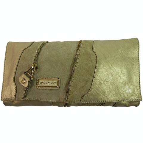 Martha Clutch in Suede Leather in iridescent beige